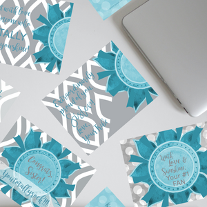 "Teal & Gray ""Sister"" Collection Traditional Stationery Set"
