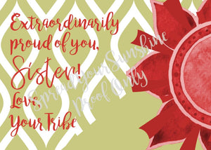 "Scarlet Red & Olive Green ""Sister"" Collection #ShineItForward 8-Pack Stationery Set"