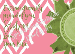 "Rose Pink & Green ""Sister"" Collection #ShineItForward 8-Pack Stationery Set"
