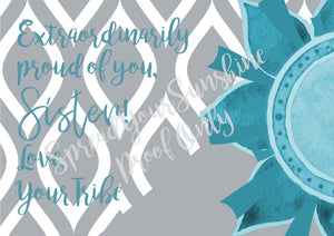 "Teal & Gray ""Sister"" Collection #ShineItForward 8-Pack Stationery Set"