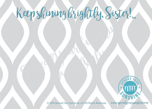 "Teal & Gray ""Sister"" Collection Individual Stationery Card"