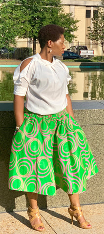 Green Skirt-Pink Swirl Knee Length