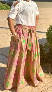 Pink Skirt-Green Dot Burst