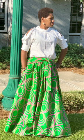 Green Skirt-Pink Swirl