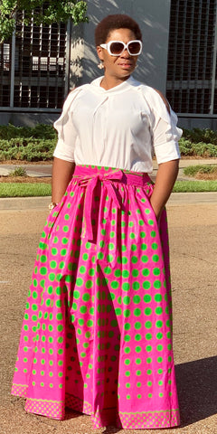 Pink Skirt-Green Dots