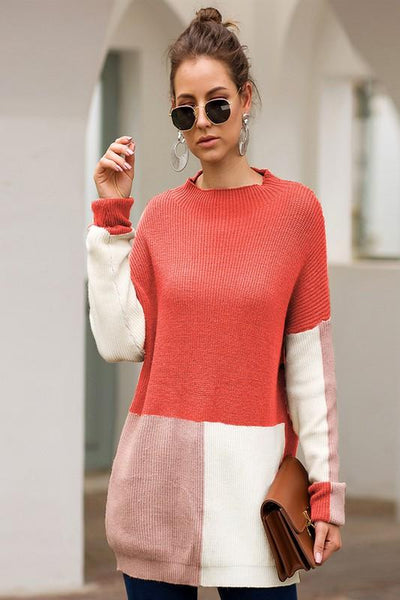 MULTI COLOR BLOCK RELAXED SWEATER