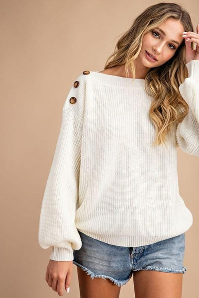 RIBBED BALLOON SLEEVE BUTTON ACCENT SWEATER (3 colors)