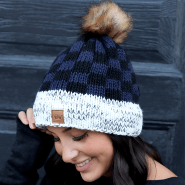 BLUE PLAID BEANIE