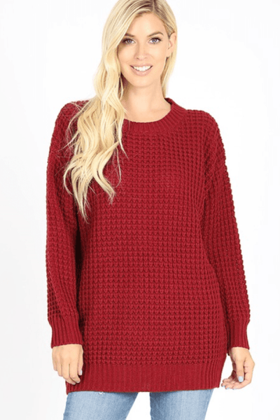 LONG SLEEVE WAFFLE SWEATER (2 colors)