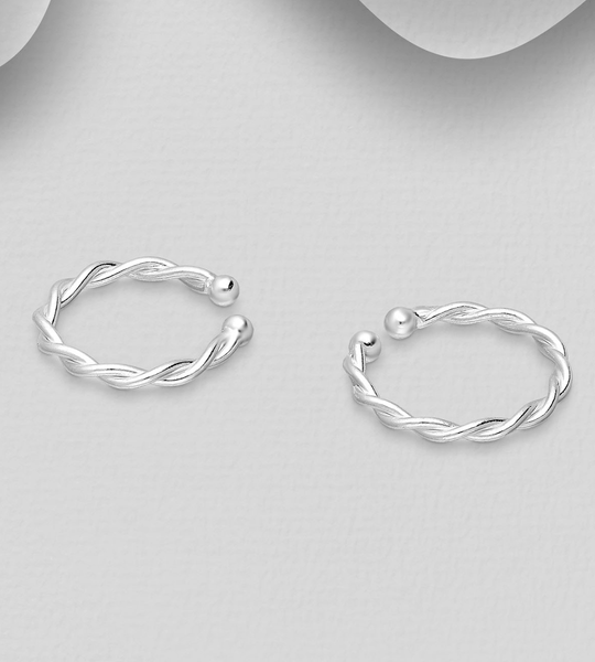 STERLING SILVER ROPE EAR CUFFS