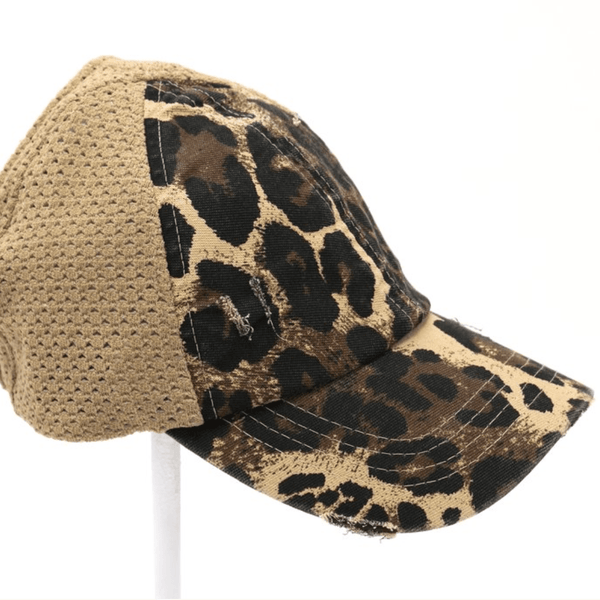 CC LEOPARD DISTRESSED HIGH PONY CAP