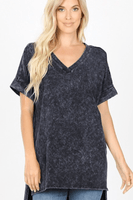 WASHED OUT SHORT SLEEVE V-NECK TOP (5 colors)