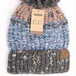 CC FUZZY LINED MULTI COLOR BEANIE