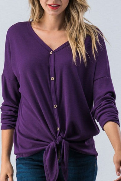 WAFFLE BUTTON DOWN V-NECK TOP