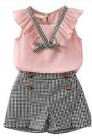 RUFFLE TRIM TOP WITH MATCHING SHORTS