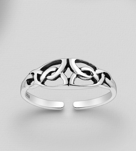 STERLING SILVER OXIDIZED CELTIC TOE RING