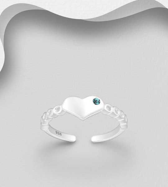 CRYSTAL HEART TOE RING (2 colors)