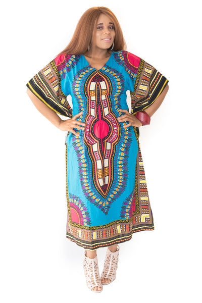The Orange and Blue Mama Africa Dashiki Dress - Moh B. Couture