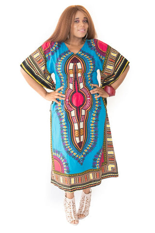 The Blue and Fushia Mama Africa Dashiki Dress - Moh B. Couture