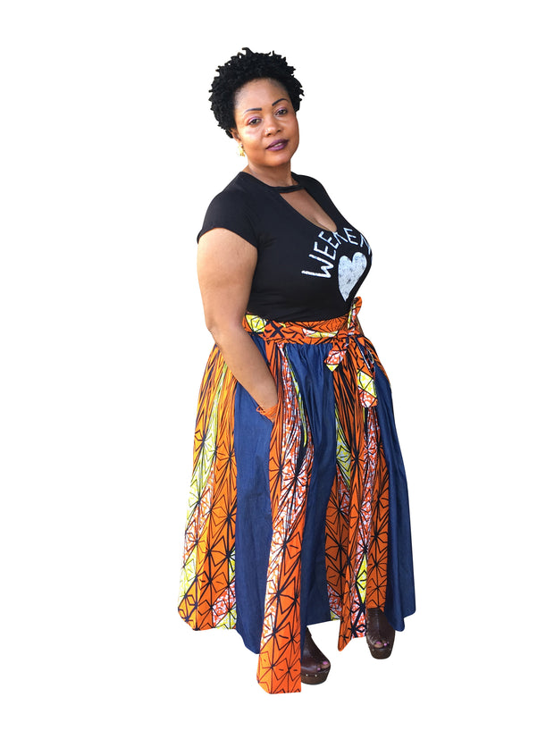 The Ami Denim African Print Maxi Skirt - Moh B. Couture