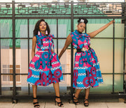 The African Print Alexa Bow Dress - Moh B. Couture