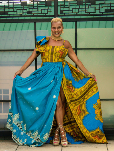 THE African Print Sandy DASHIKI DRESS - Moh B. Couture