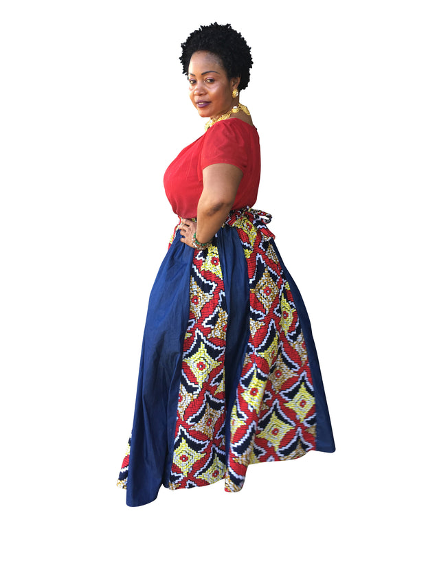 The Mai Denim African Maxi Skirt - Moh B. Couture