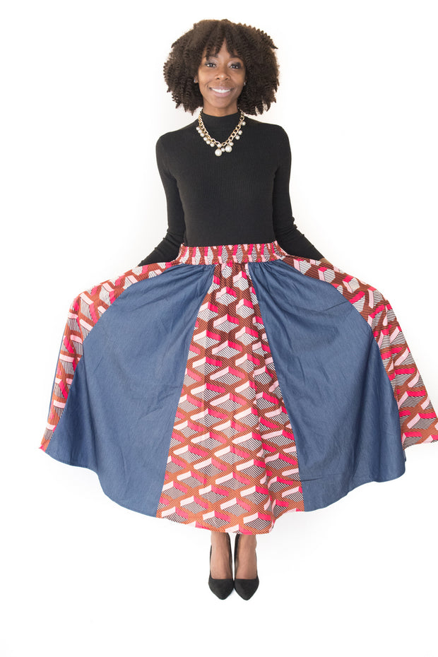 The Nawa African Denim Maxi Skirt - Moh B. Couture