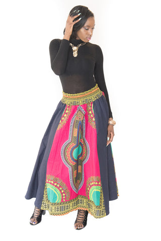 The Sandy Dashiki & Denim Maxi Skirt - Moh B. Couture