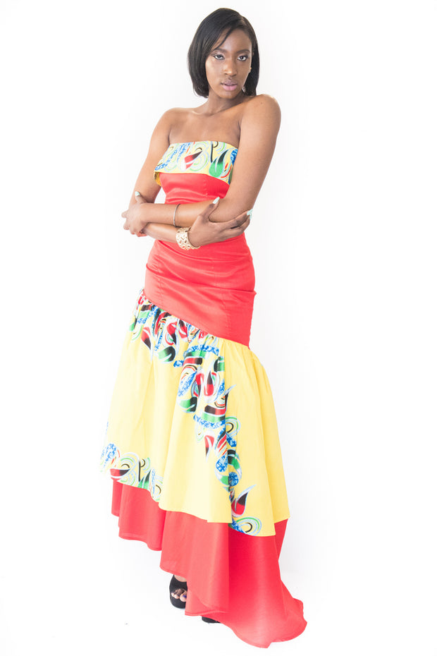 The Koumba Strapless African Print Dress - Moh B. Couture