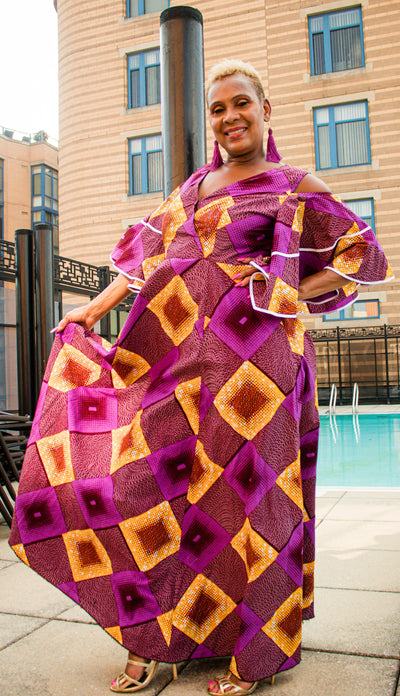 The African Print Anita Maxi Dress - Moh B. Couture