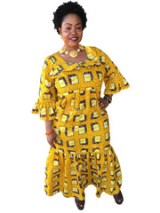 The Yellow Mama Africa Dashiki Dress - Moh B. Couture