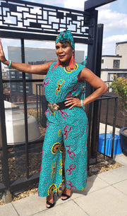 The African Print Karen Jumpsuit - Moh B. Couture