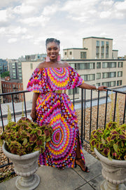 The African Print Rose Off-Shoulder Maxi Dress - Moh B. Couture