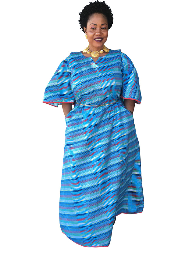 The Blue Mama Africa Dashiki Dress - Moh B. Couture