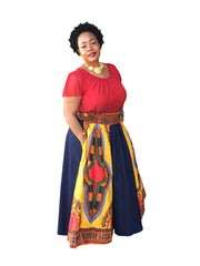The Fanta Denim African Print Maxi Skirt - Moh B. Couture