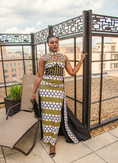 THE African Print CLEOPATRA DRESS - Moh B. Couture