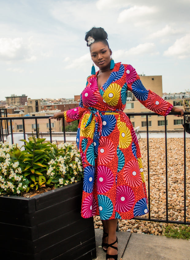 The African Print Bohemian Wrap Dress - Moh B. Couture