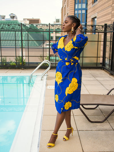 The African Print Lioness Wrap Dress - Moh B. Couture