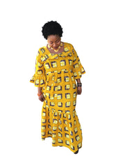 The Mouna African Print Maxi Dress - Moh B. Couture