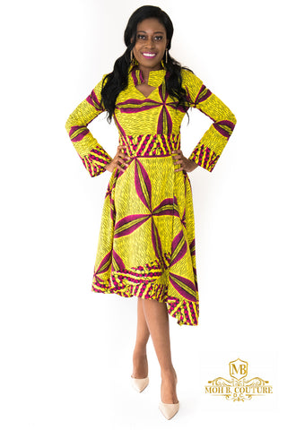 The Zane One Shoulder African Print Dress - Moh B. Couture