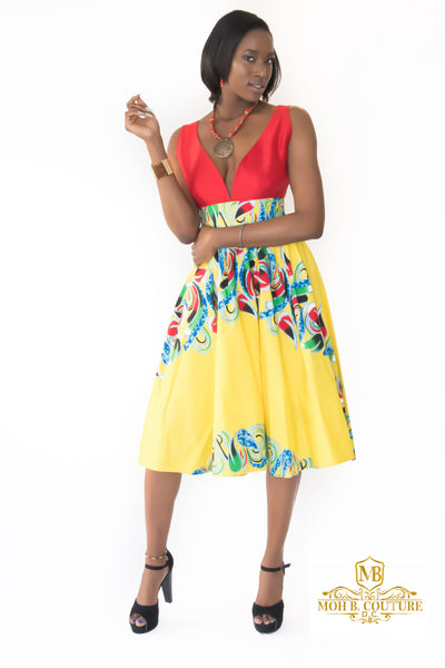 The Haji V-Neck African Print Dress - Moh B. Couture