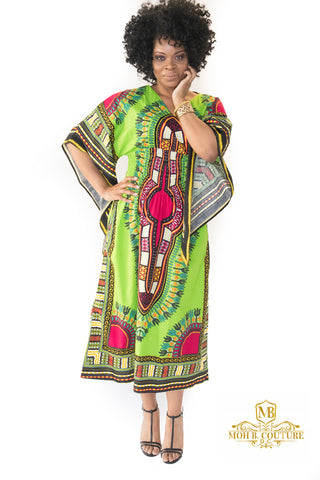 The Green and Fushia Mama Africa Dashiki Dress