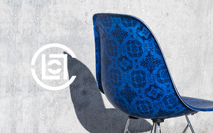 Modernica teams up with CLOT on limited Edition Fiberglass Eiffel Chair featuring CLOT's iconic Silk Royale print.
