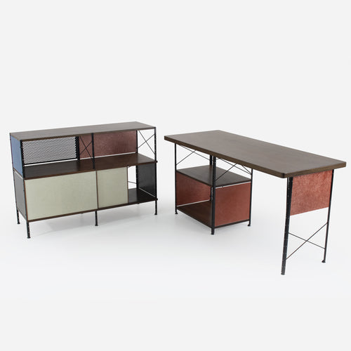Case Study® Furniture Walnut Veneer Desk / 220 Pre-Configured Storage Unit Bundle Pack