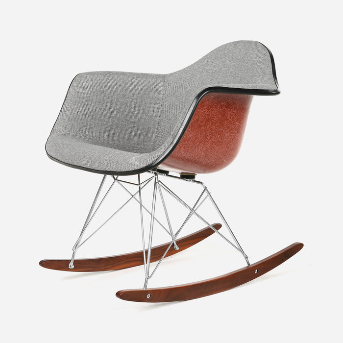 Case Study Furniture® Upholstered Arm Shell Rocker - Kings Road Pewter with Terracotta