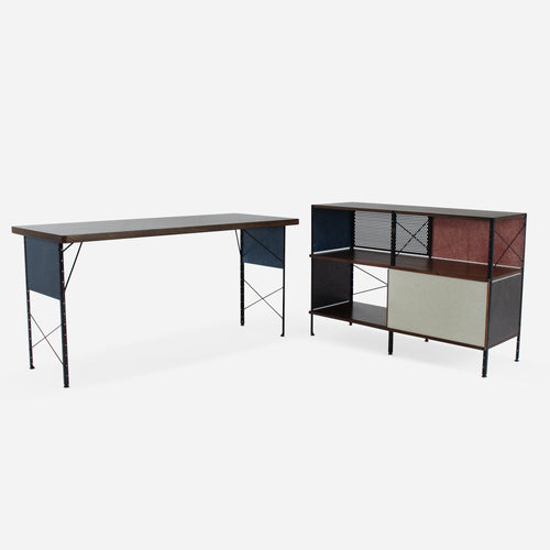 Case Study® Furniture Walnut Veneer Work Table / 220 Pre-Configured Storage Unit Bundle Pack