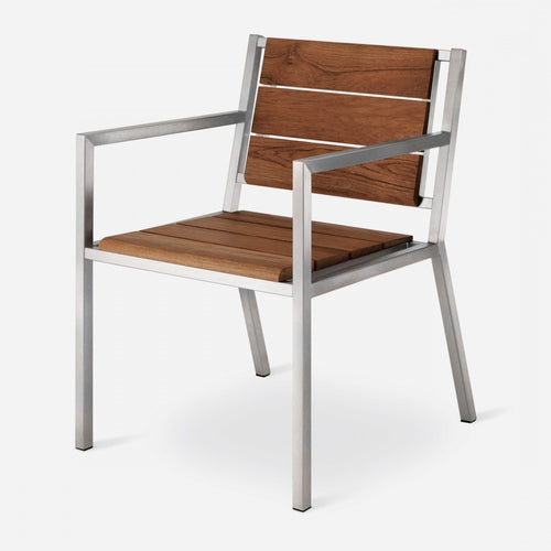 Case Study® Furniture Stainless Dining Chair - with Arms - Brazilian Walnut