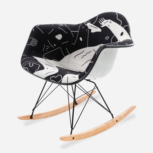 Cleon Peterson Upholstered Arm Shell Rocker - Land of Shadows - PRE-ORDER Limited to 100