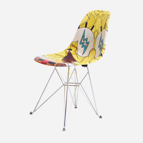 Modernica x SpongeBob x Louis De Guzman x J Balvin Case Study Furniture® Side Shell Eiffel Fiberglass Chair - Yellow